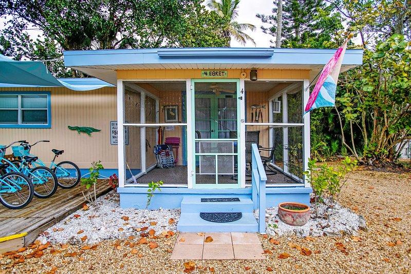 O exterior da Egret Cottage.