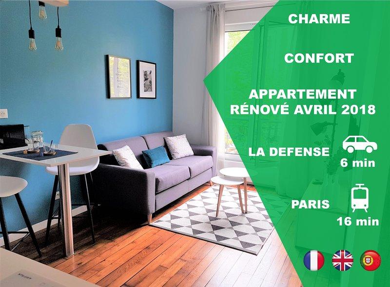 ★ Magnifique/Beautifull APPARTEMENT ★ proche/near LA DEFENSE & PARIS, holiday rental in Rueil-Malmaison