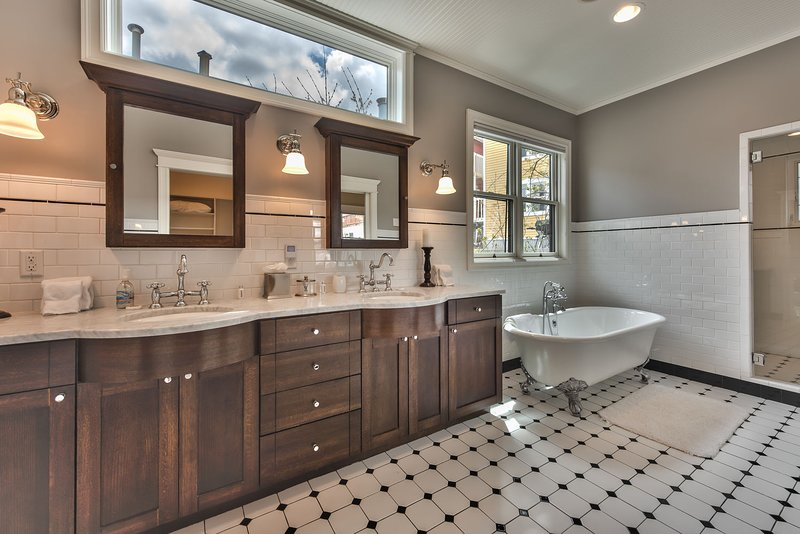 Master Bath with Steam Shower, Soaking Tub and Dual Vanities