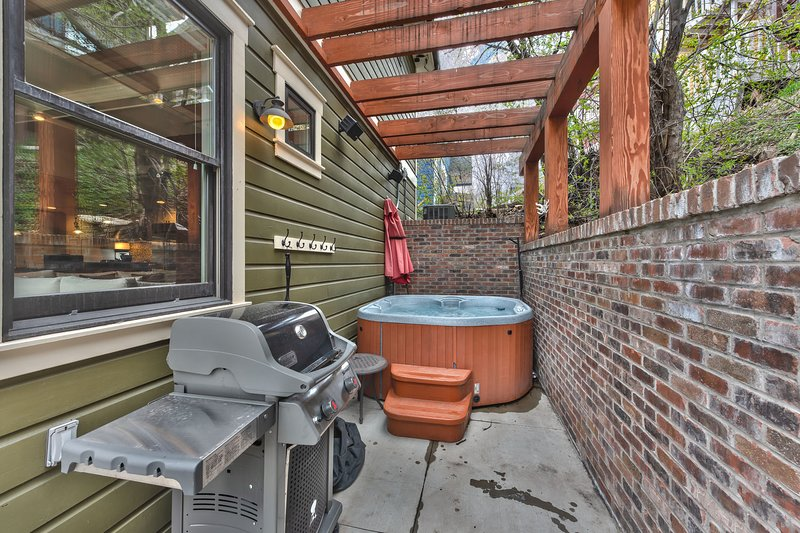 Patio off Living Room with BBQ and Hot Tub