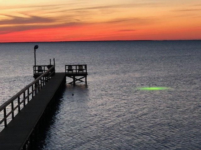 Sunset on our private 200' pier on Copano Bay