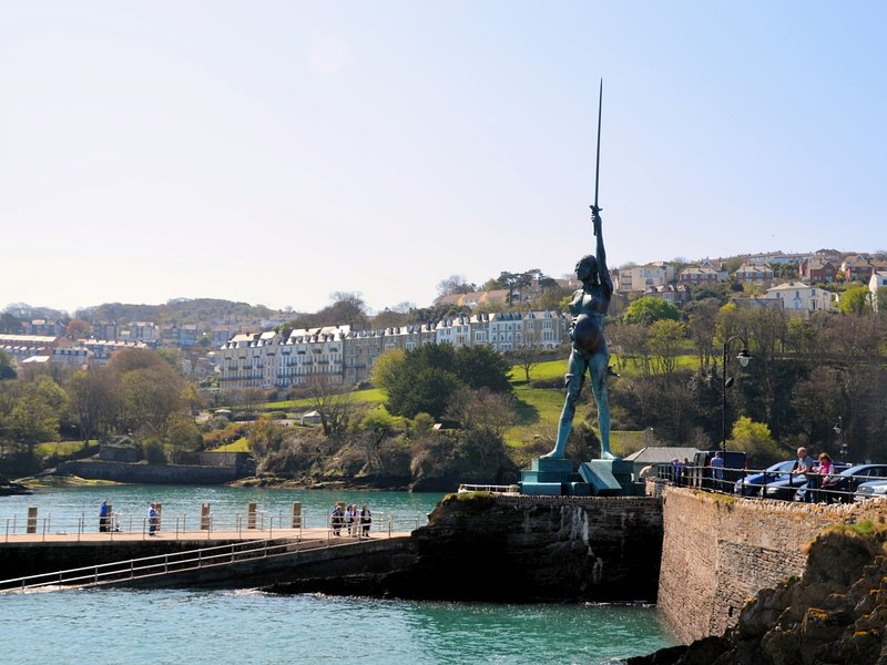 Famous Verity statue on Ilfracombe harbour