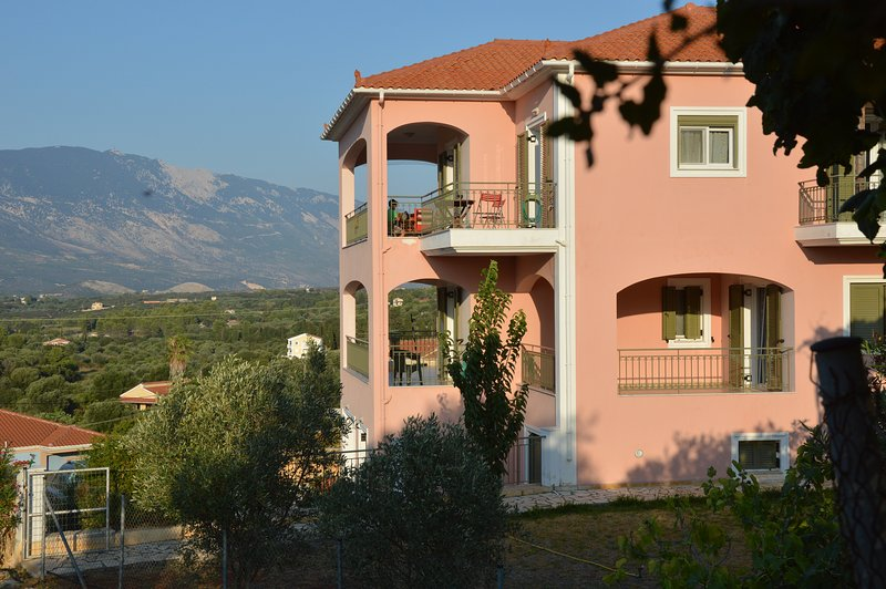 Villa Eleftheria with views of Mount Ainos in the distance