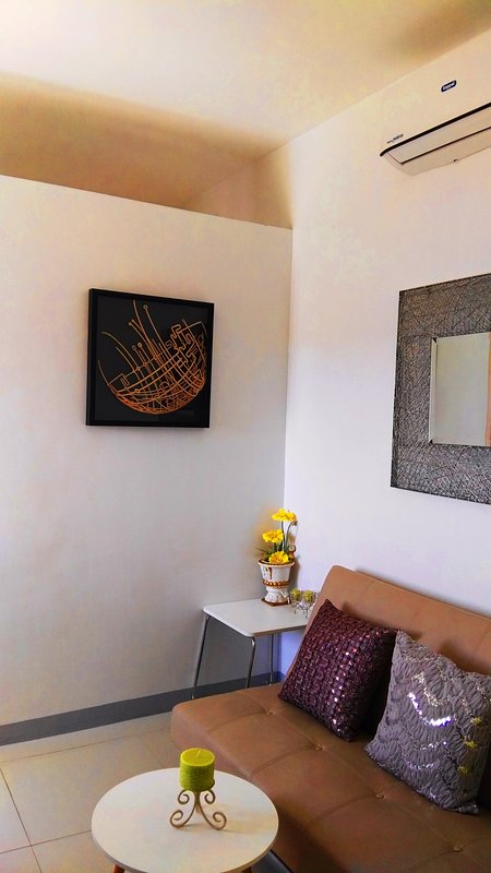 Lounge decorated with Filipino artworks