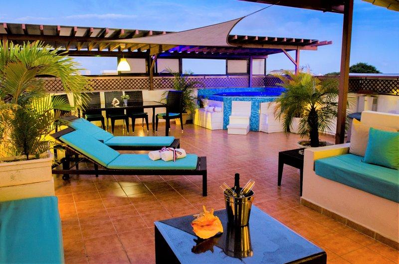 Private Roof Top Terrasse avec jacuzzi, barbecue et salon