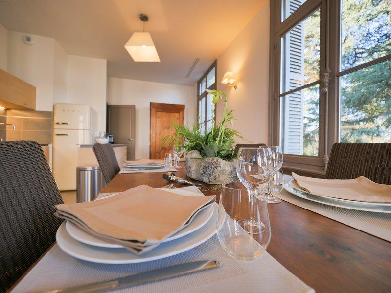 La sala da pranzo e la cucina