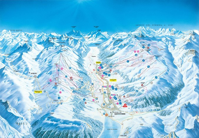 Detailed map of the skiing area
