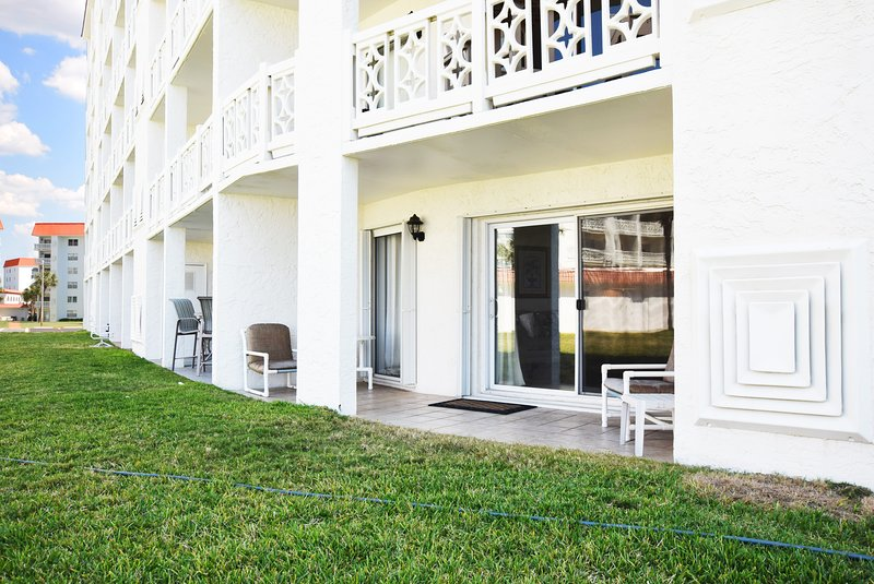 Ground Level Patio near the Beach & Pool -  El Matador Resort, Okaloosa Island Fort Walton Beach Vacation Rentals