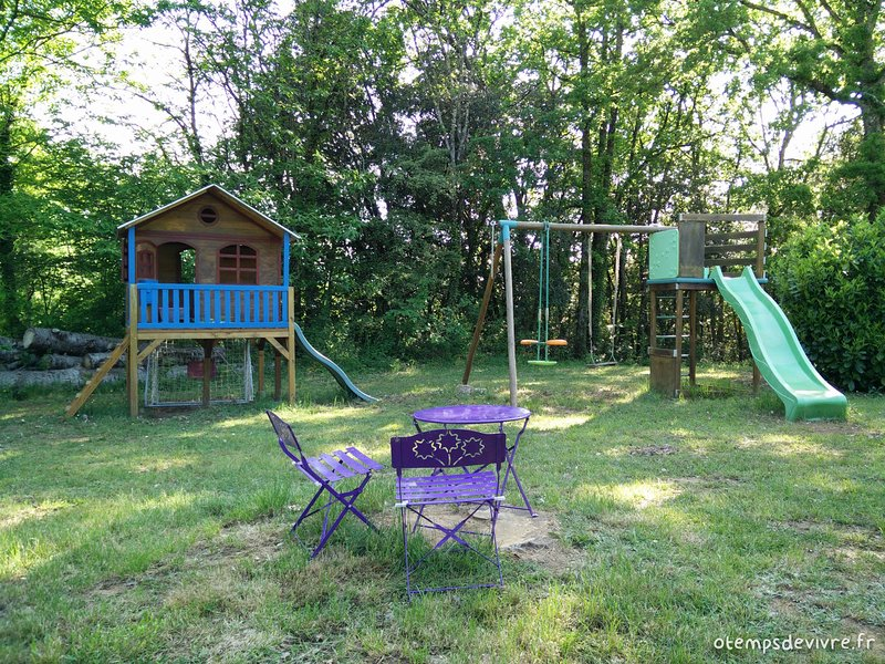 Swing, swing, slides and playhouse for children