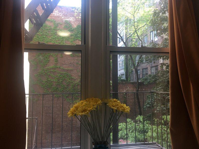 Bedroom window view to garden