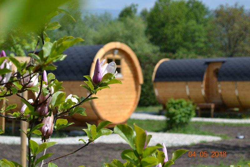Dormir dans un tonneau face aux montagnes... Insolite !!! Le calme , la sérénité, location de vacances à Lepin-le-Lac