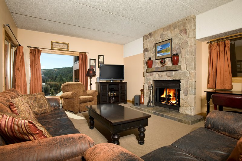 The living area is spacious and the large windows let in lots of natural light