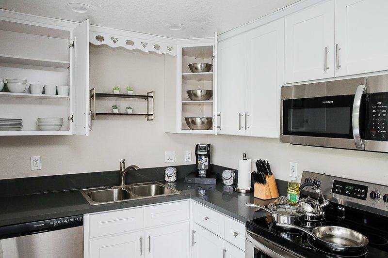 Una cucina completamente attrezzata dandovi la possibilità di godere di pasti a casa