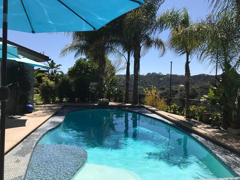 pool and hillside