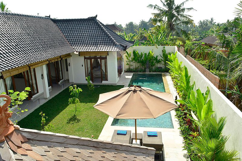 View of villa from the upstairs terrace.