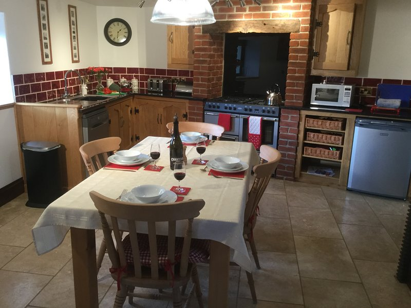 The kitchen is an inviting and social space