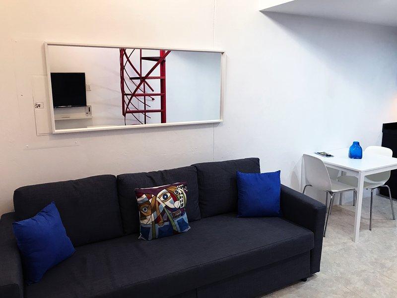 Area della stanza. In esso abbiamo smart TV e un divano letto matrimoniale in cui 2 persone si adattano.
