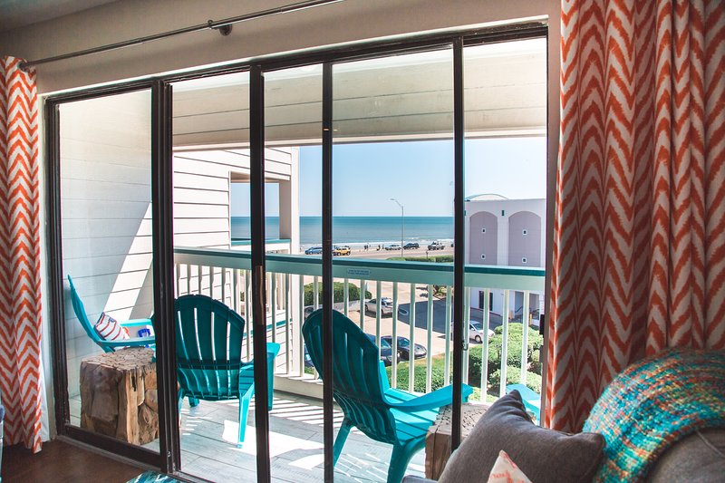 Top floor view of Babe's Beach in Galveston! Super fun condo with every extra we could think of! Truly A Stay Above The Rest!