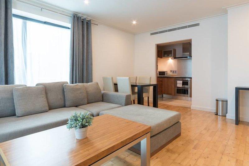 El espacio de vida moderna apartamentos con la cocina escondida