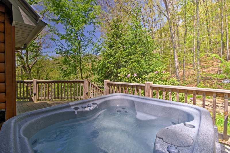 Adjust to mountain time while soaking in the private hot tub.