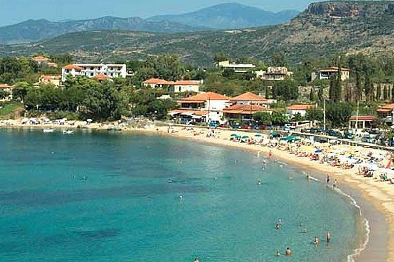 Stoupa beach (19km)