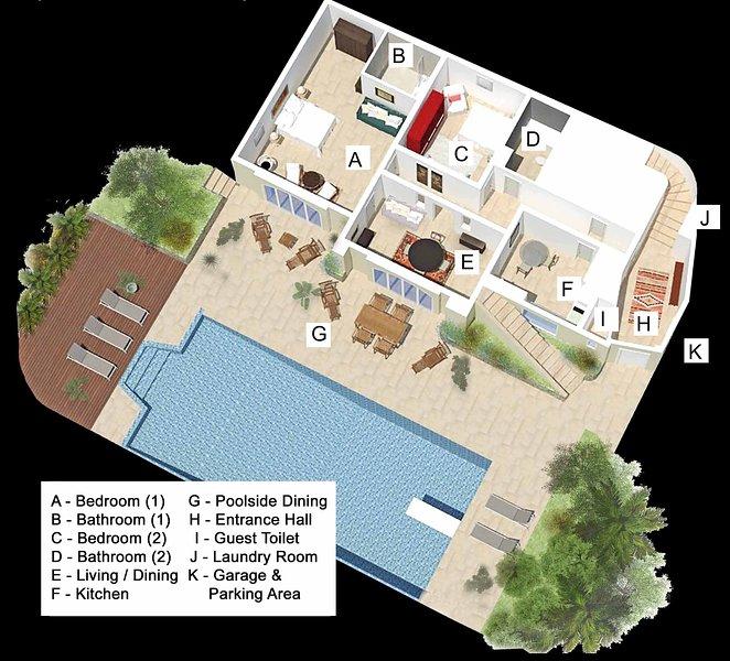 Luxury Pool Apartment Plan in 3D