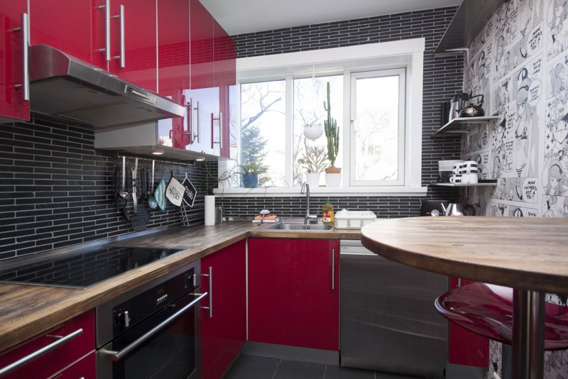 Hermosa cocina de diseño único.