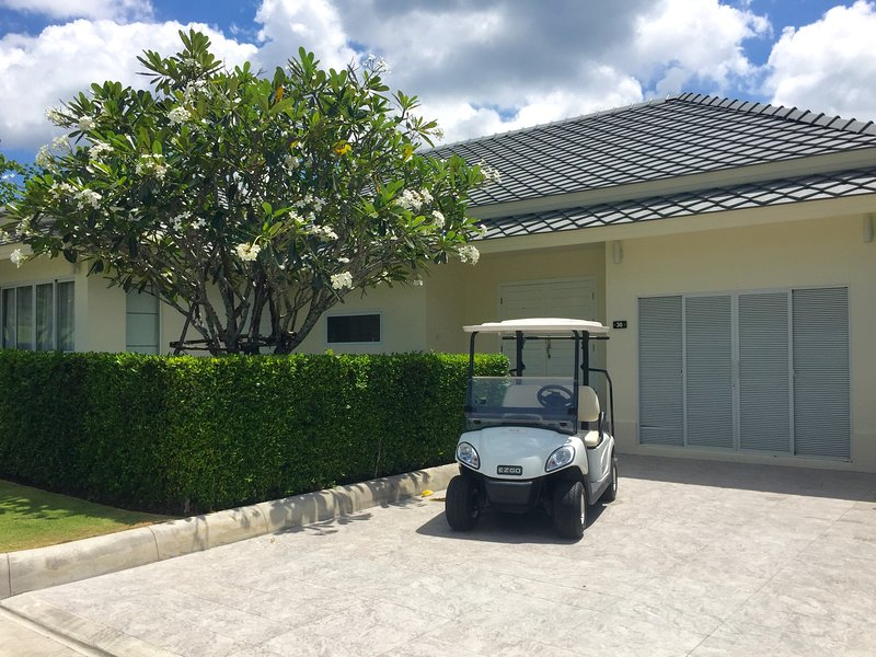 There is space on the driveway to park your car. Use of the golf buggy is included in the rental.