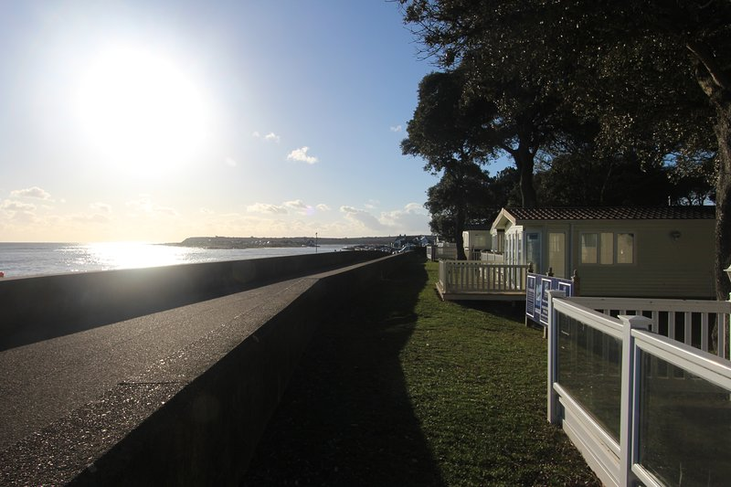 The view west along the front of Sandhills Holiday Park