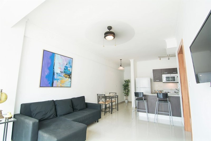 The Spacious Living Room with Open Kitchen and a Large Private Terrace