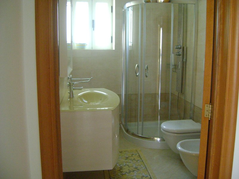 practical and functional bathroom with stylish washbasin ocher and crystal shower box.