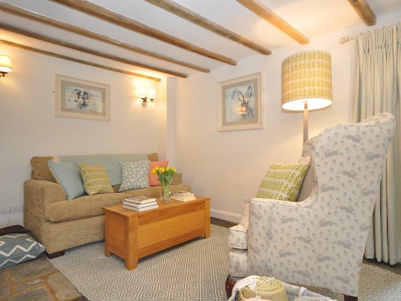 Stylish lounge area with colourful furnishings
