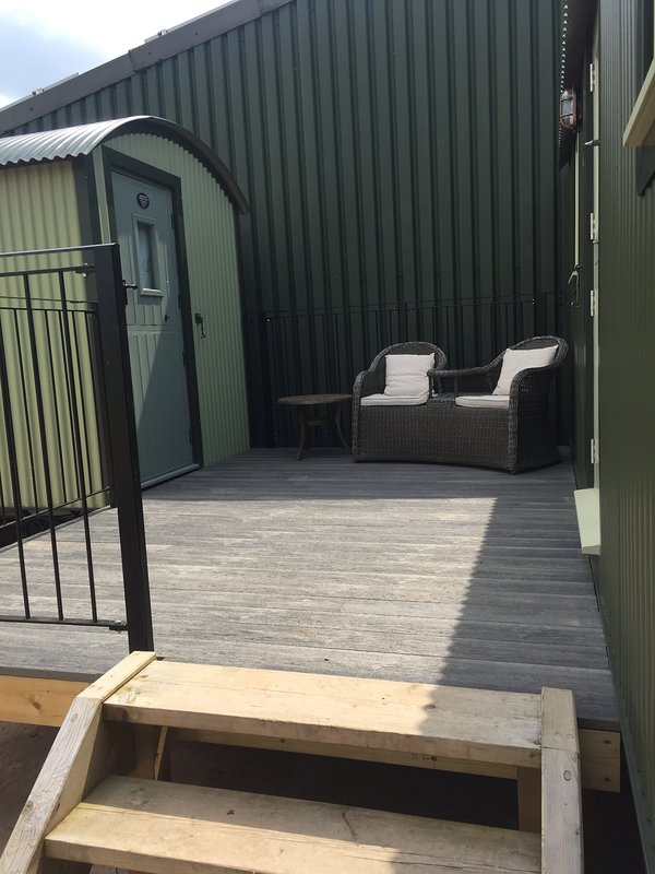 Decking area joining the two lodges