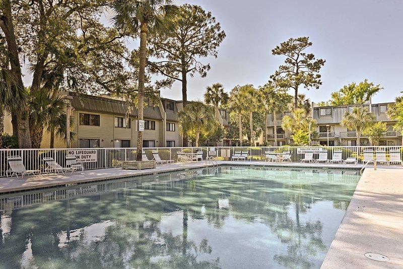 Splash around in the community pool on sunny days.