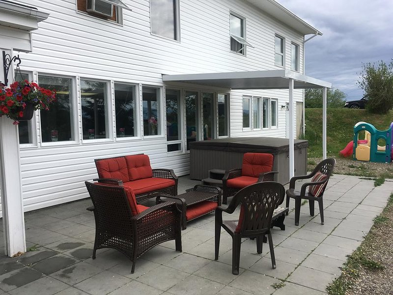 Enjoy the Patio with Comfy Furniture, Hot tub, Small Kids Play Structure, BBQ,