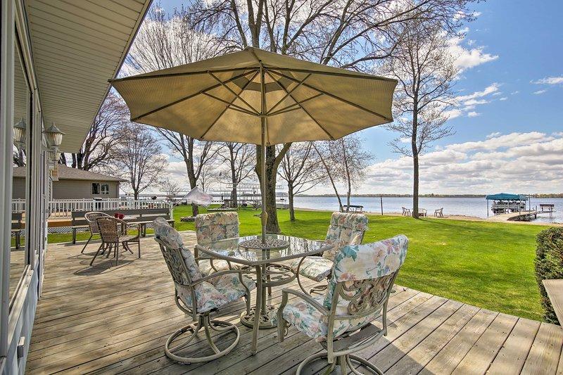Your lakefront getaway awaits at this beautiful vacation rental on Shawano Lake!