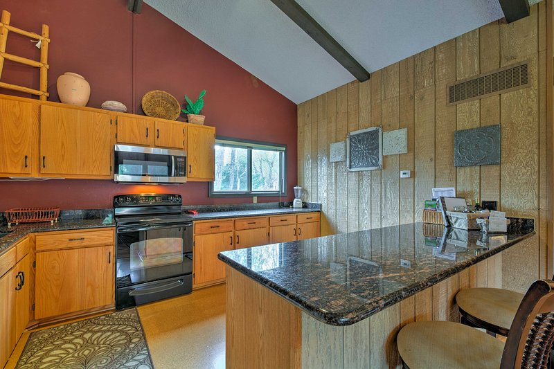 The 2-person breakfast bar is perfect for morning coffee.