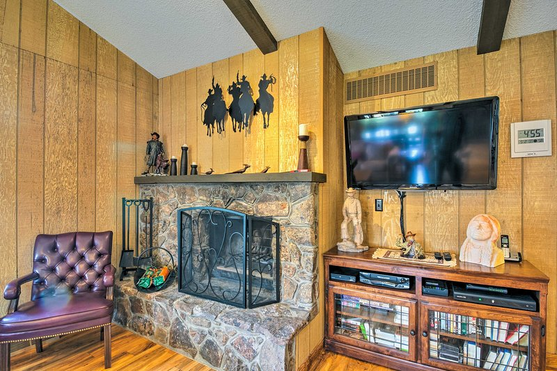 Warm up next to the wood-burning fireplace.