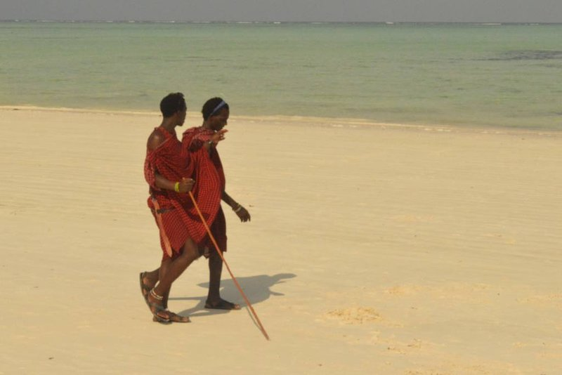 Massai on the beach