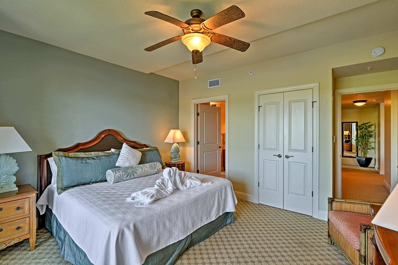 Drift off in the plush king bed in the second bedroom.