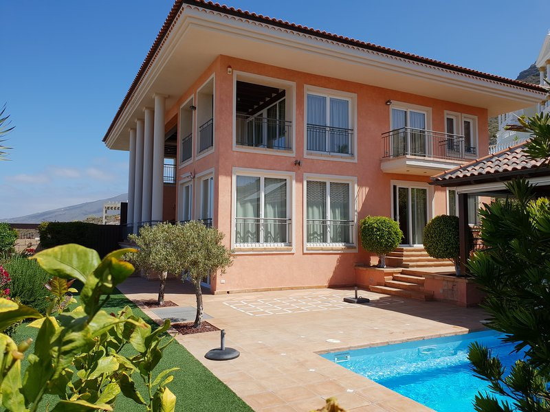 Villa Strelitzia with private heated pool, counter current, sea view, wifi, holiday rental in Tenerife