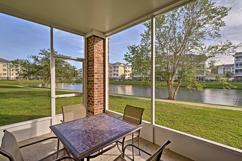 Eat breakfast on the patio with an outdoor table and seating for 4.