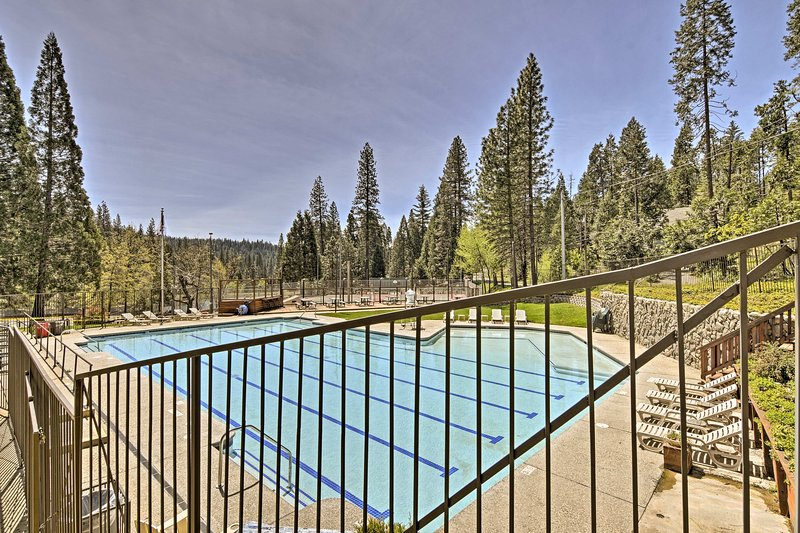 Swim laps or soak up the sun on your getaway to this lovely home in Arnold.