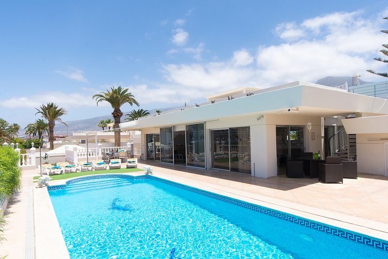 Large private heated pool and villa