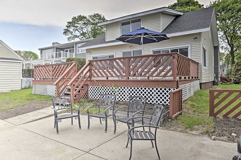 The 4-bedroom, 1.5-bath home is directly on Narragansett Bay.