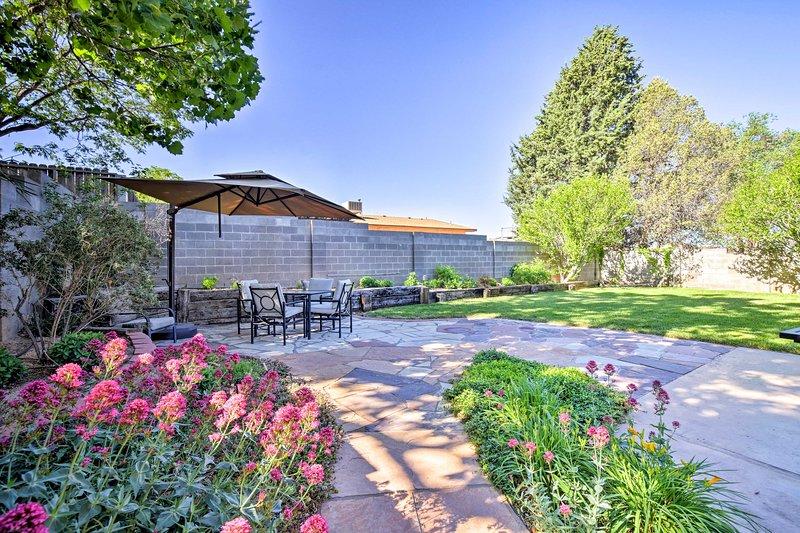 This 3-bedroom, 2-bath home sleeps 6 and boasts a beautiful backyard.