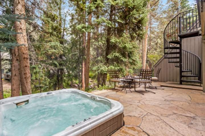 Amazing views of Gore Creek from the hot tub or firepit area (firepit is available in the summer only).