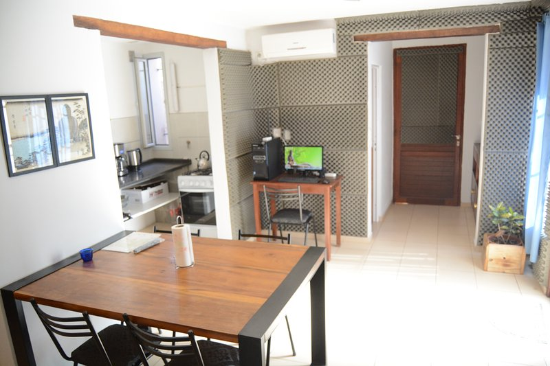 living room, kitchen and dining room