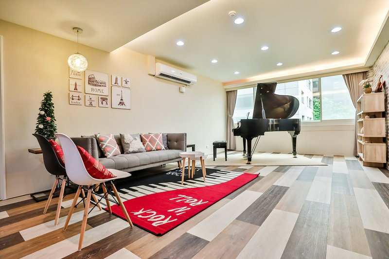 ♪ Elegant Spacious ♪4BR Taipei Music Guest House ♪ SuperHost Rated ♪, vakantiewoning in Da'an