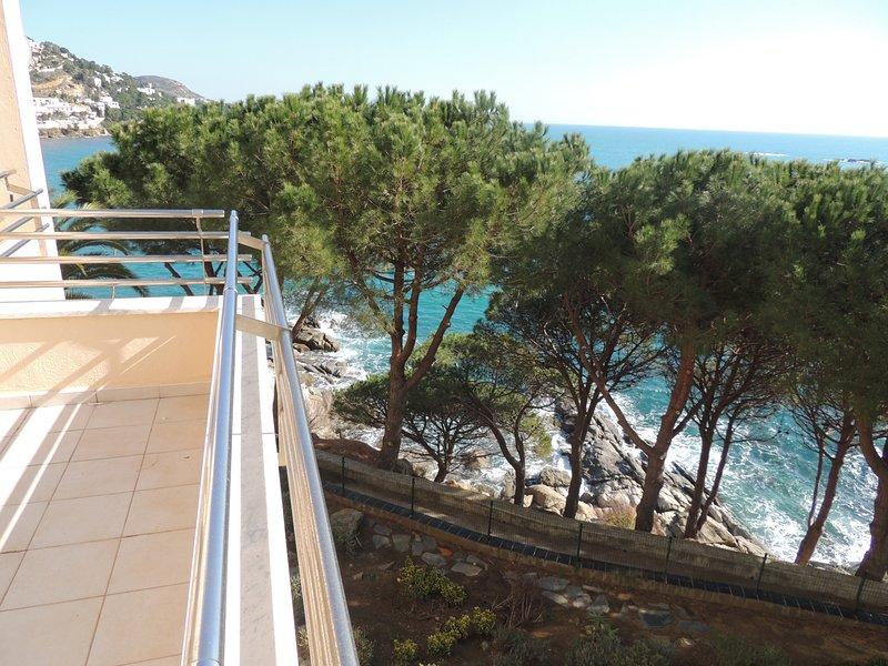 Apartamento grande de 2 habitaciones con terraza, vistas al mar y a 500 metros d, holiday rental in Roses